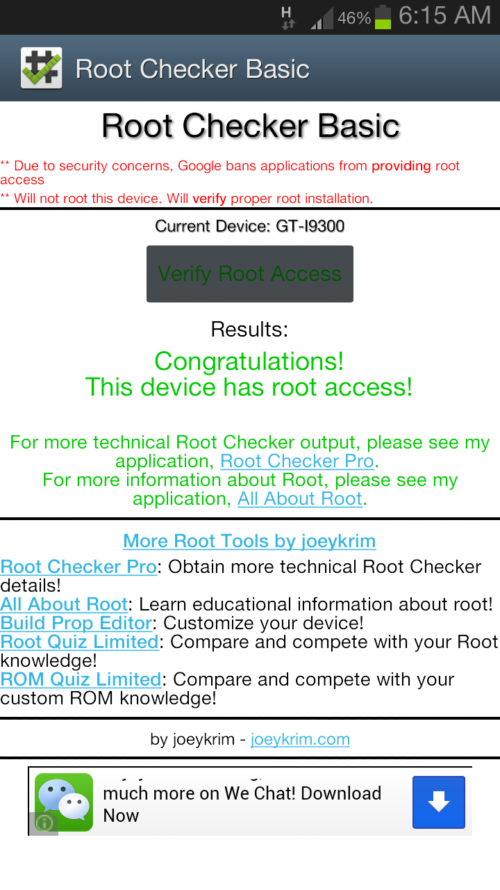 Verify root with root checker