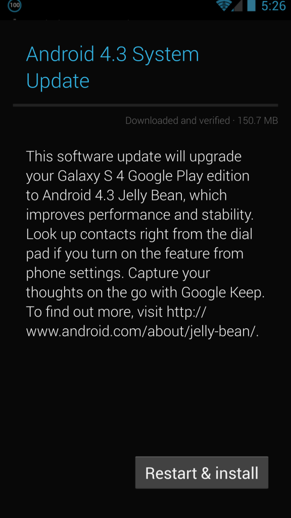samsung galaxy s4 google play edition android 4.3 update