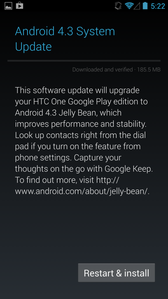 HTC One google play edition android 4.3 update