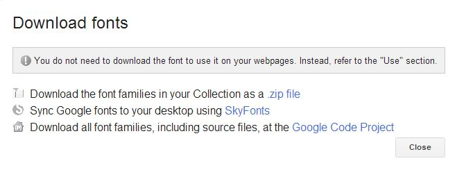 download Google web fonts
